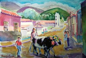 Obra Bueyes en el Día de San Isidro, del artista Francisco Rivero. En el portal El Color de Los Andes, mayo de 2011.
