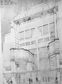 Proyecto para el Teatro Continental en el centro de Caracas, c. 1934. Foto Gasparini, Graziano y Posani, Juan Pedro, Caracas a través de su arquitectura, Armitano Editores.