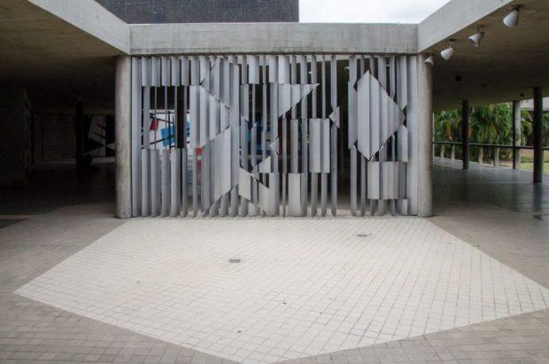 Positivo - Negativo (1954), de Víctor Vasarely, integra la colección Síntesis de las Artes, creada por Villanueva para la Ciudad Universitaria de Caracas. Foto Luis Chacín, 2016.