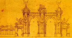 Proyecto para el Arco Santa Inés (1896), de Juan Bautista Sales. Fuente: Archivo Audiovisual. Biblioteca Nacional. (Tomado de la Revista Memoriales 1, pág. 41, ver ref.)