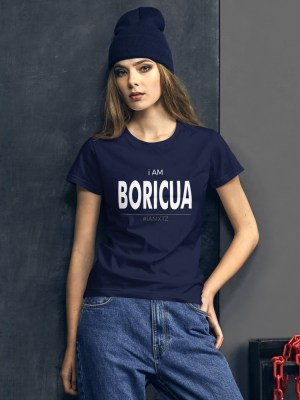 i AM Boricua Ladies Ringspun Fashion Fit T-Shirt with Tear Away Label