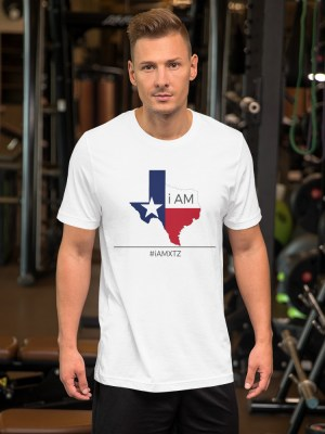 i AM Texas  Unisex Short Sleeve Jersey T-Shirt with Tear Away Label