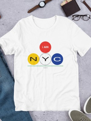 i AM NYC Unisex Short Sleeve Jersey T-Shirt with Tear Away Label