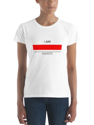 i AM Red Line WHT Ladies Ringspun Fashion Fit T-Shirt with Tear Away Label