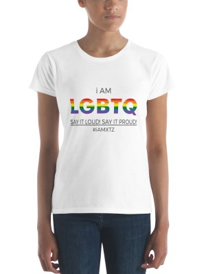i AM LGBTQ  Ladies Ringspun Fashion Fit T-Shirt with Tear Away Label