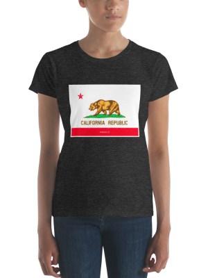 i AM California Dark Ladies Ringspun Fashion Fit T-Shirt with Tear Away Label