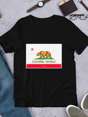 i AM California Dark  Unisex Short Sleeve Jersey T-Shirt with Tear Away Label