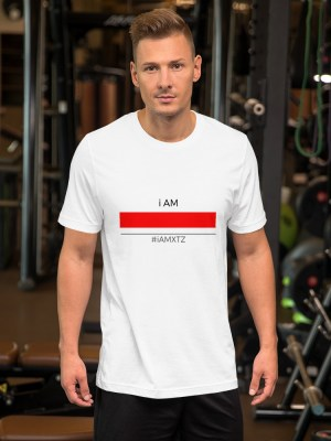 i Am Red Line WHT Unisex Short Sleeve Jersey T-Shirt with Tear Away Label