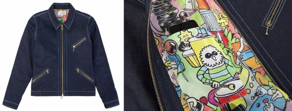 The Courant Type Z denim jacket x Ben Montero print lining.