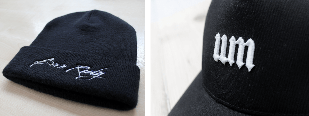 Examples of flat embroidery and 3D embroidery on hats.