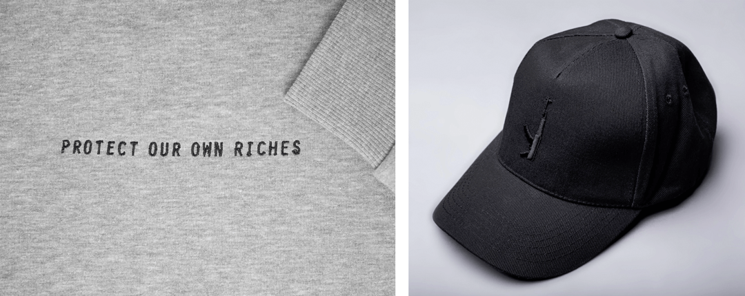 Examples of recent garment embroidery orders we've completed for streetwear brands Protect Our Own Riches and Black Rain Paris.