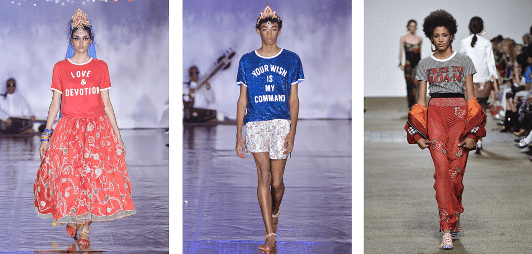 Slogan ringer tees on the catwalks for Ashish (left) and House of Holland (right).