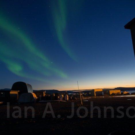 Aurora borealis in the sunset over Toolik Field Station