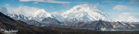 A full-resolution panorama of Mount Denali as seen from Eilson Visitor Center, Denali National Park, Alaska.