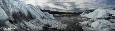 Looking back from the face of Matanuska Glacier, Alaska.
