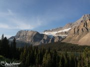 Crowfoot Glacier sits high in the sun at Banff National Park, Canada.