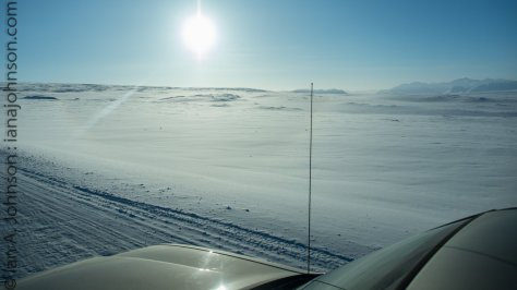 "The tundra expanse with the ""Golden Colo"" - the rig I was driving."