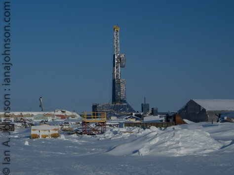 A drilling right and metal boneyard at Prudhoe Bay.