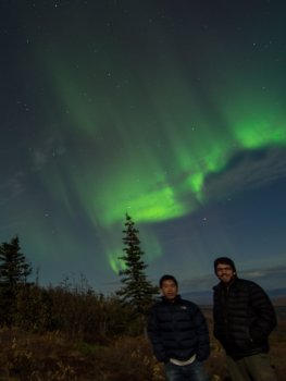 Jiake and I below the Aurora storm.
