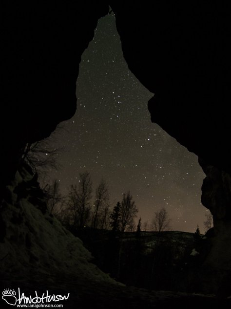 The cave at the top of angel rocks was amazing! The double entrance was passable and you could easily stand up inside. Here is a picture from out of the cave looking south. You can just see the tail of the milky way.