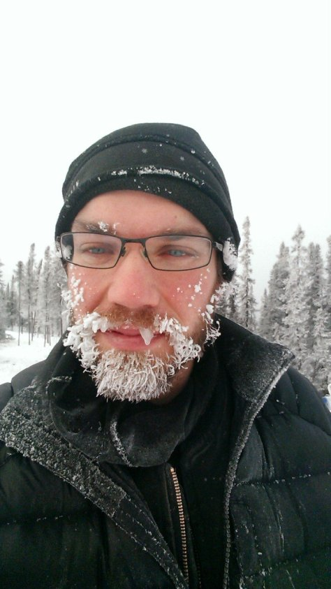 A frosty beard after the 13mile tag-sled run!