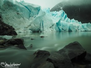 The river of melt-water flows out to the face of the Mendenhall Glacier.