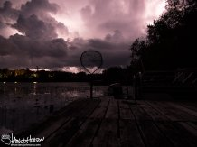 The scene of the thunderstorm off the end of the dock.