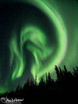 Swirling greens of aurora during a incomprehensibly large push of energy.