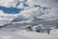 Hills locked in winter in Haines Pass.