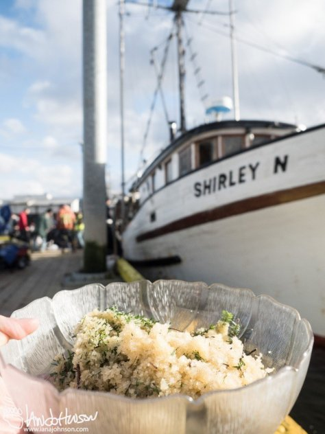 My small take of herring eggs in front of the Shirley N.