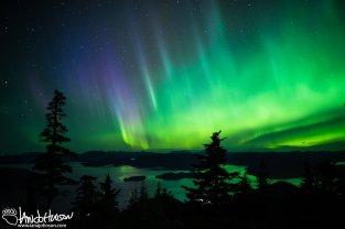 Aurora Borealis, Sitka Alaska, Harbor Mountain, Green Aurora, Purple Aurora, Ocean, Mountains
