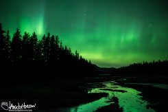 """The Emerald River"" The aurora shines off a tidal river in Hoonah. Alaska."