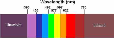 A chart of the light spectrum. Copyright : http://techlib.com/images/optical.jpg