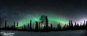 Milky Way Panorama Dog Sled Black Spruce Aurora Boeralis2