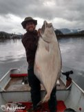 A large halibut jigged near Hoonah, Alaska.