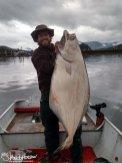 A large halibut jigged near Hoonah, Alaska.