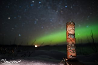 Aurora, Hoonah, Creative Photography, Alaska, Green, Ocean, Icy Strait, Mountains, Totem, Tlingit, Focus Stack