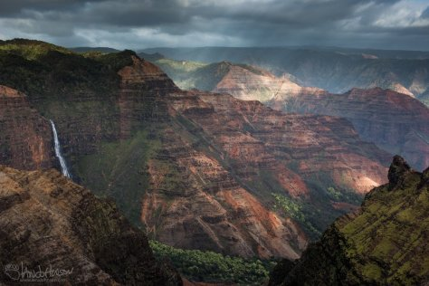 Waimea Canyon, Kauai, Sun, Red