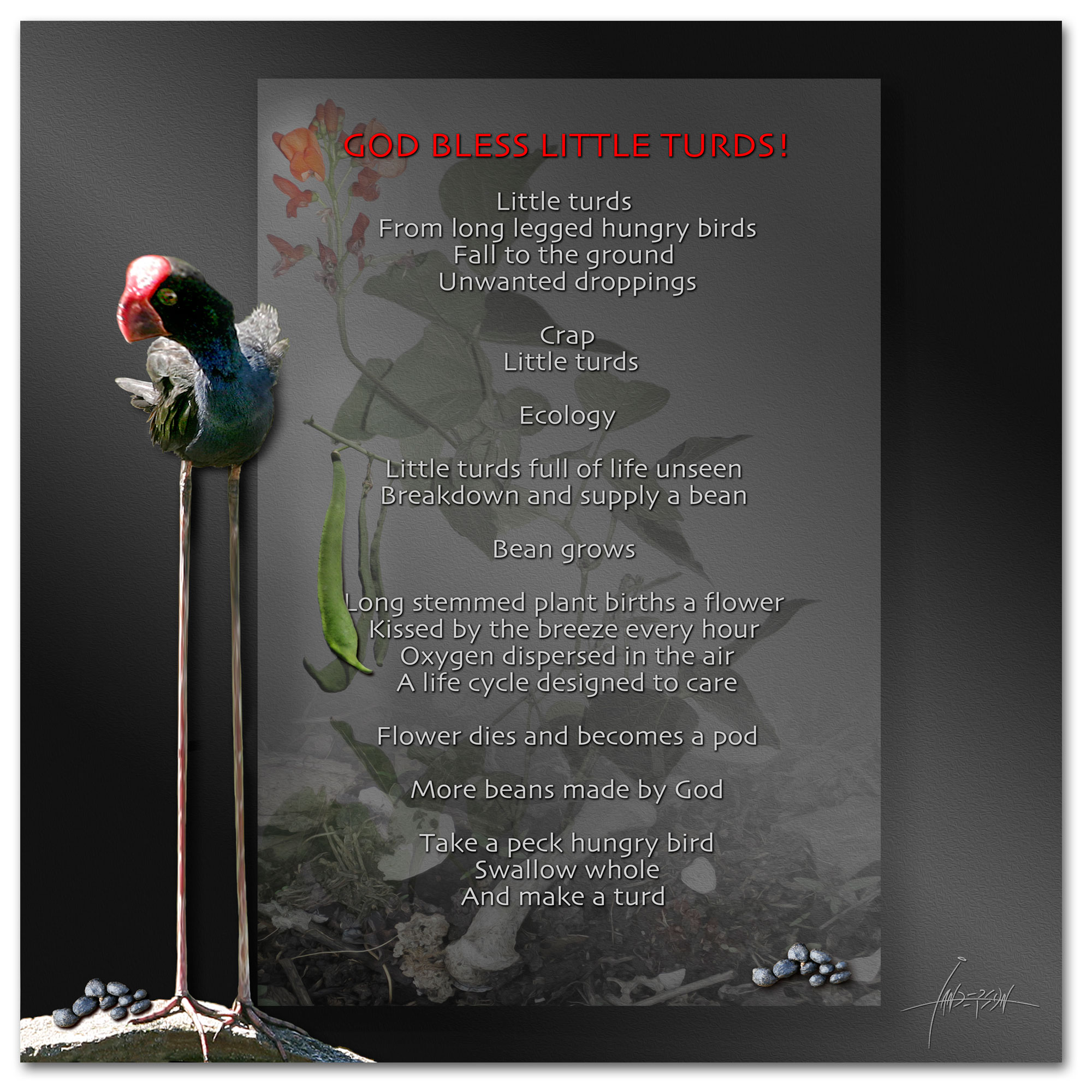 God bless little turds - A poem with an ecological twist by Ian Anderson