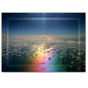 A rainbows reflection amongst the clouds in the Pacific Ocean, art by ian anderson.