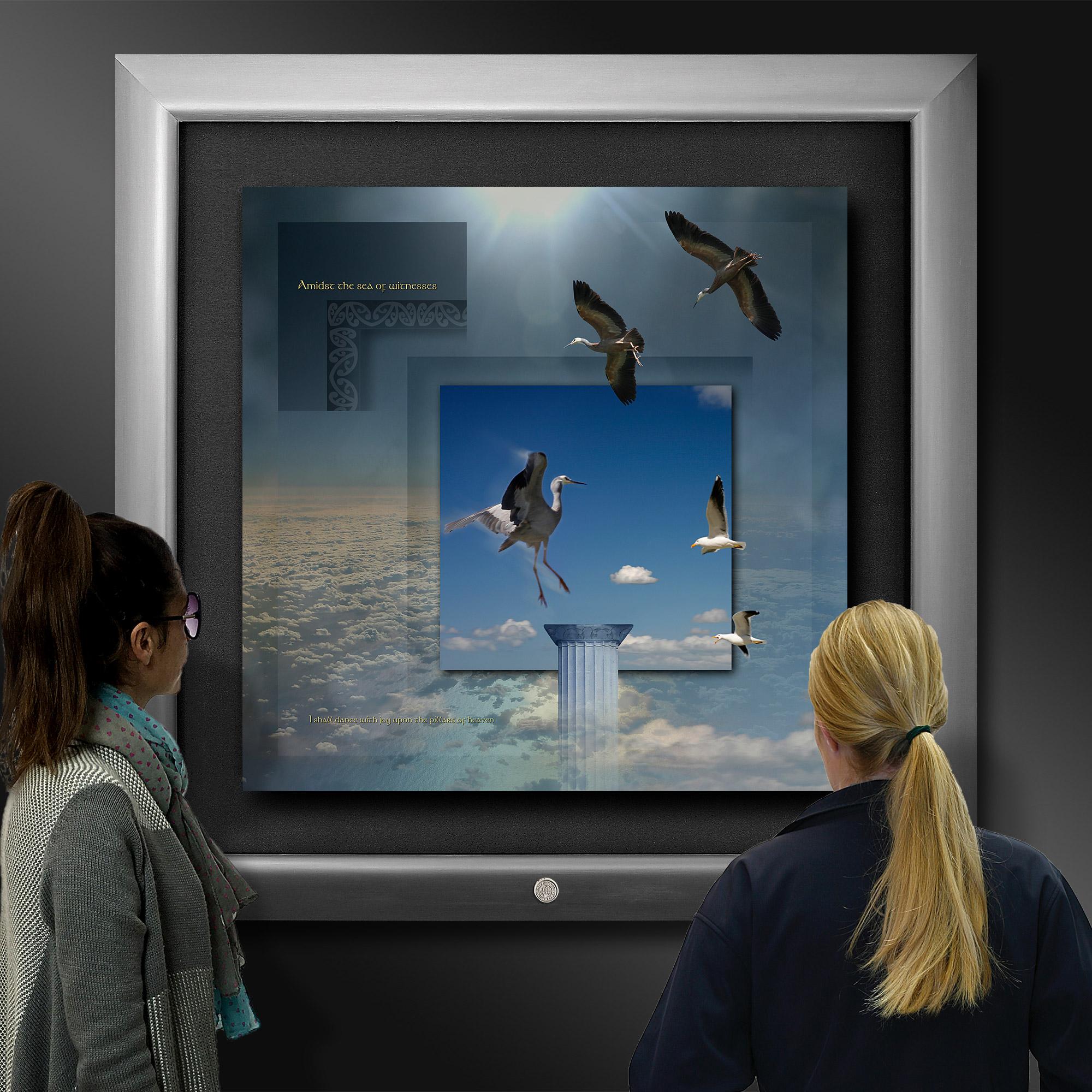 Photo artwork of surreal Heron's in flight, being viewed in an art gallery.