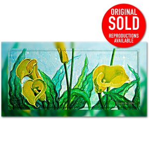 Yellow Cala Lily in all its splendour, mixed media painting.