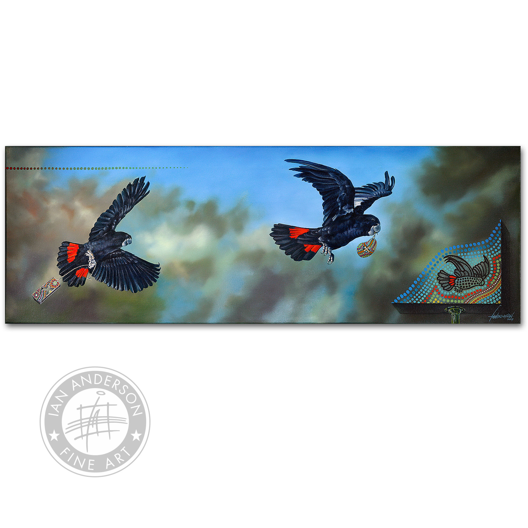 Red Tail Black Cockatoo - Original Oil Painting on gesso primed canvas