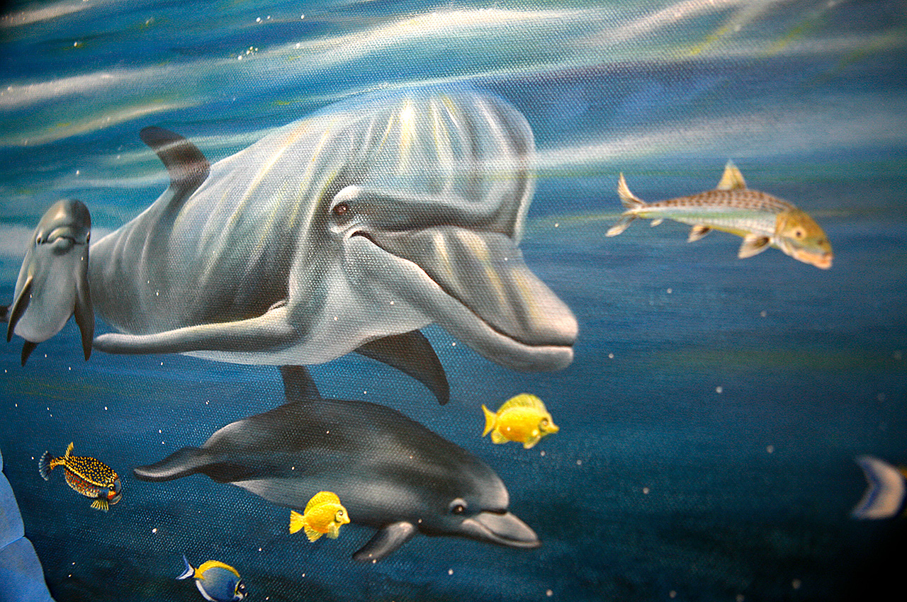 Dolphins universe animals birds - Dolphine-Bone-Fish - Oil painting 11