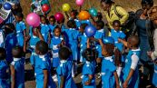 Preschoolers join the march with balloons