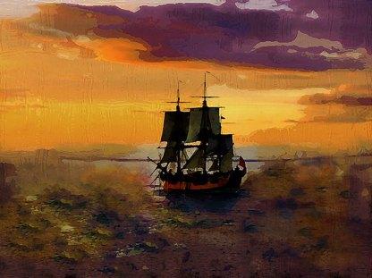 Sunset at sea