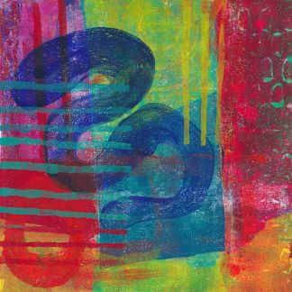 abstract monotype print inspired by Bert Irvin - red, green blue