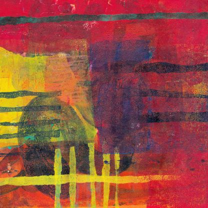 colourful abstract print in reds, purples and yellows