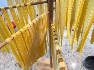Mafaldine pasta nnoodles drying