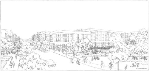 2939 - Village Green & Retail Line Art